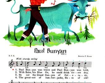 Paul Bunyan Lumberjack, INSTANT Download POSTER Print, American Canadian folklore, from original illustration 1950s music book