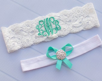Blue | Monogrammed Garter | Personalized Garter | Plus Size Garter |  Tiffany Wedding