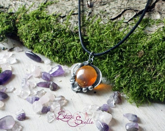 Pendant Tin ball of amber glass gem elven fairy pewter color old money new art
