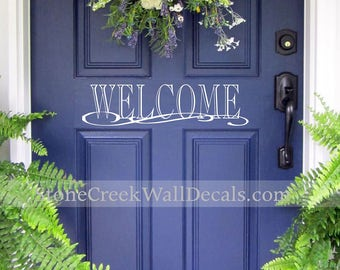 Welcome Door Decal Welcome Vinyl Decal Door Decor Home Decor Porch Decor Curb Appeal Welcome Home Decor Home and Living Vinyl Decal D026