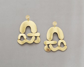 Statement gold leather abstract shapes earrings