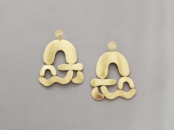 Handmade leather statement abstract shapes earrings