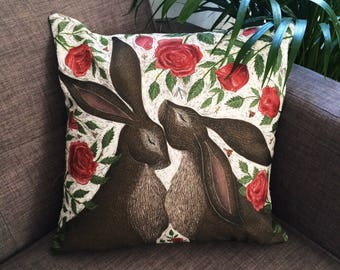 Red Rose Hares Cushion