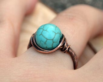 Copper wire wrapped Turquoise ring