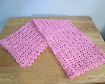 Pink Baby Blanket Lightweight Stroller Blanket Baby Shower Gift Crochet Baby Afghan New Baby Gift Ready to Ship Made in Canada