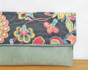 Floral Foldover Clutch / Magnetic Snap / Upcycled Repurposed Suede