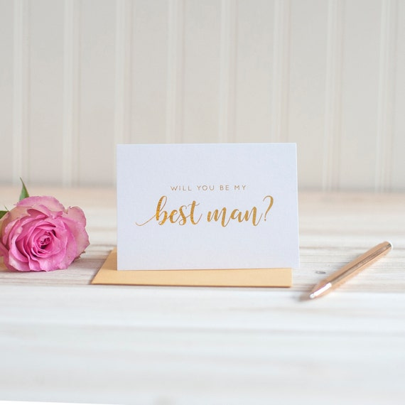 Will You Be My Best Man with gold foil, Best Man box, Groomsman proposal, wedding party card, gold foil stamped, best man invitation gift