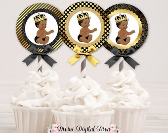Cupcake Topper Circles | Black & Gold | African American Little Prince | Digital Instant Download