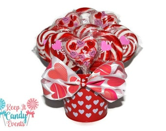 Valentines Lollipop Arrangement, Candy Arrangement, Valentines Arrangement, Valentines Candy, Valentines Centerpiece, Valentines Wedding