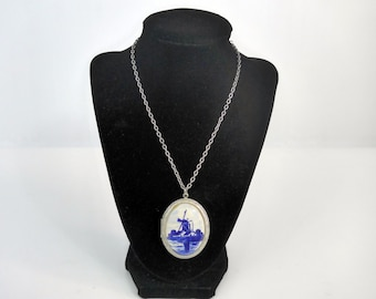 LARGE Vintage Delft Blue Hand Painted Locket on Long Silver tone Chain - Holland Dutch 2 Compartment Photo Locket w/ Windmill on Porcelain