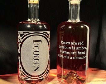 """NEW """"Inebriated Intentions' Bourbon Poetry Decanter - Perfect for a lover of the home bar, cocktails and personalized romance."""