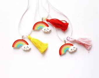 Happy Cloud - Rainbow - Tassel - necklace  - size for kids or women - Rainbow