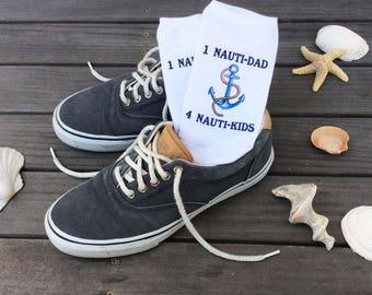 Custom Father's Day Gift Socks, Nauti Dad Nauti Kids, Add Personalization to Several Designs, Custom Printed Men's Crew and No-Show Socks