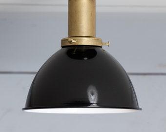 Black Shade - Brass Ceiling Mount Light