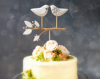 Love Birds and Pearl Topper, Wedding Cake Topper, Bird Cake Topper/ Bridal Cake Topper, Bride and Groom Cake