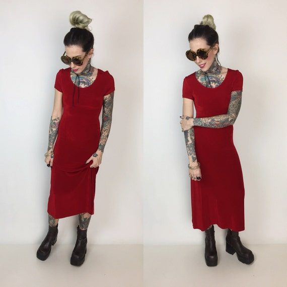 90's Red Midi Dress Size Small 4/6 - Rose Red Bodycon Short Sleeve Basic Midi Dress -  Sexy Red Tight Fitting Below The Knee 1990's Dress