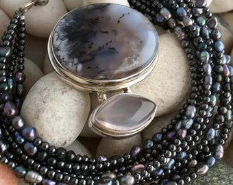 """TORSADE NECKLACE & ENHANCER 2 Tier Pendant / Agate, Moonstone, Sterling Silver, Culture Pearls and Hematite / Handcrafted / 18"""""""