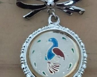 Vintage glass drop suspended brooch