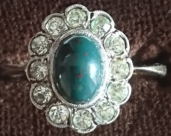 Vintage 9ct gold and silver bloodstone ring