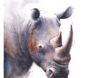 RHINO PRINT - animal print, watercolor rhino, rhino artwork, painting rhino, rhino wall art, rhino art, wildlife print, animal watercolor