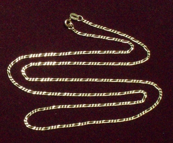 """Vintage 14k. Yellow Gold Figaro Chain.   Measures 24"""" long and 1.7mm wide."""