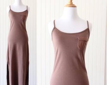 Vintage Maxi Dress Spaghetti Strap Cotton Dress Minimal T Shirt Dress Small X Small Brown Summer Dress