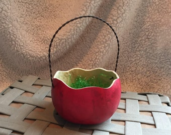 Gourd Easter Basket with Metal Handle, Red Stain