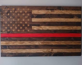 Fire Fighters Thin Red Line Chiseled USA rustic flag.