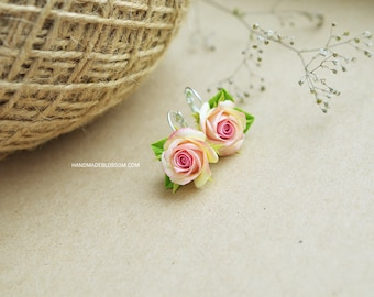 Peach roses earrings, fimo earrings, ring, polymer clay, fimo roses, clay flowers