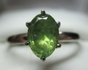 Sold-Second payment- 1.08ct Natural Russian Demantoid Garnet With Horsetails 14kt White Gold Solitaire Ring-Super Rare Russian Demantoid!