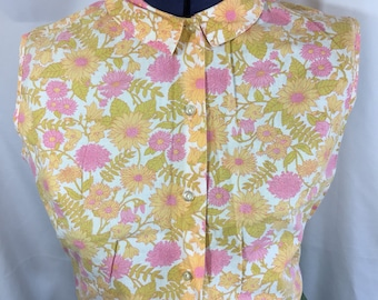 Seeds of Summer Blouse - Vintage Blouse - Size Medium Large - Vintage Floral Blouse - Vintage Shirt - Vintage Top - 60's Blouse - 60's Shirt