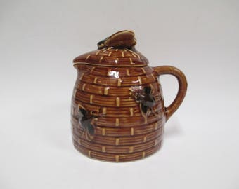 Vintage Honey Pot Server, Brown & Gold Pitcher with Honey Bees, Beehive Honey Keeper, Bee on Lid, Mid Century 1950s or 60s Japan