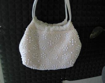 Vintage textile White Beaded Purse