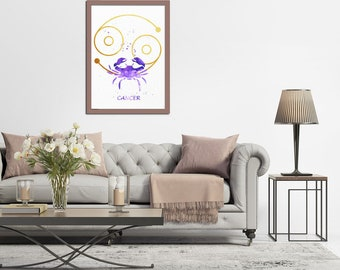 Cancer Watercolor, Cancer Zodiac, Cancer Poster, Cancer Print, Zodiac Art Print, Astrology Art, Zodiac Wall Art, Cancer Gift, Birthday Gifts