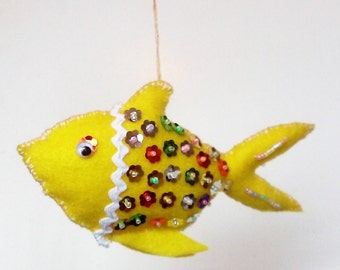 Yellow Eco felt fish with sequins and beads