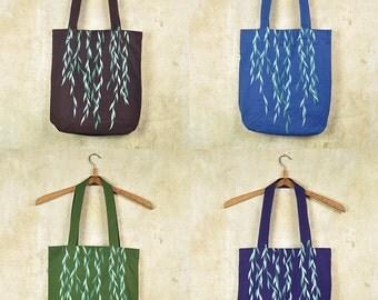 Silkscreen Tote Bag - Sea-Green Willow on Dark Violet / Denim Blue / Chocolate / Moss Green Bio & Fairtrade Cotton Bag