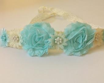 Aqua Ivory Flower Lace Hair  Tie Back Headband, Yellow Shabby Flower Lace Headband Hair Tie , Newborn- Adult
