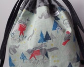 Animals in Nordic Sweaters drawstring bag with cotton fabric ties for knitting & craft projects (medium)