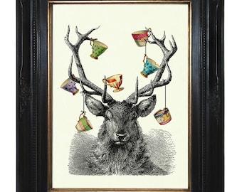 Deer Stag Hannibal Art Print Antlers Tea Cups Teacups - Victorian Steampunk Art Print Woodland Forest Surrealism Engraving