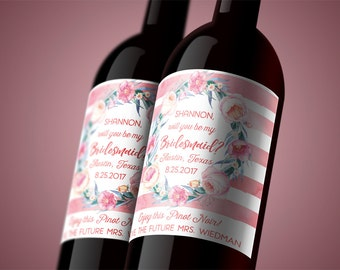 Boho Will You Be My Bridesmaid Wine Labels - DIY Printable Wine Bottle Wraps - Instant Download