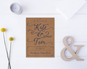 Rustic Navy & Kraft Save the Date Cards - Modern Calligraphy Wedding Save the Dates for a Rustic Wedding
