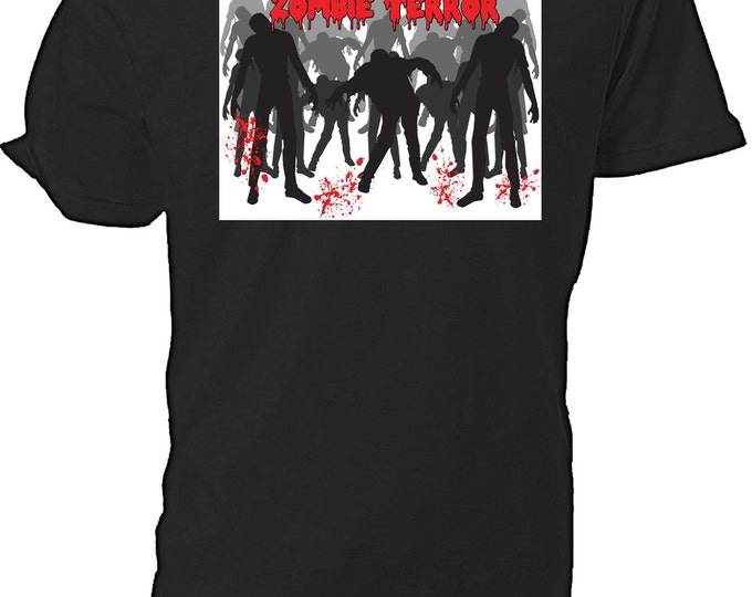 Zombie Terror T shirt choice of sizes and colours,