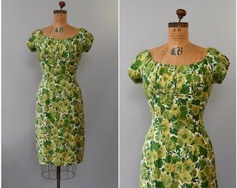 1960's green rose floral cotton wiggle dress • medium