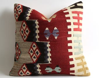 turkish kilim pillow 16x16 turkish pillow vintage pillow decorative pillow bohemian pillow kilim cushion cover