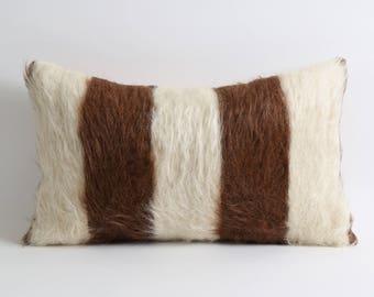 Farmhouse decor Rustic home decor brown white 12x20 inch fur kilim pillow cover goat hair