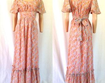 1970's Gauzy Peach Floral Empire Waist Maxi Dress Sz. M/L
