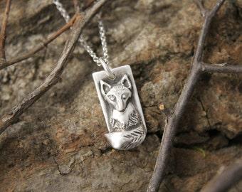 Fox Pendant in Fine Silver