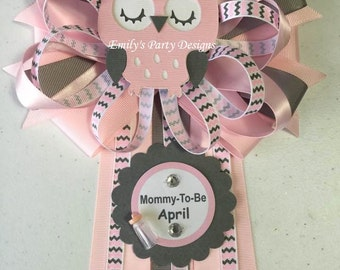 Grey and Pink Owl Mommy-To-Be Baby Shower Corsage