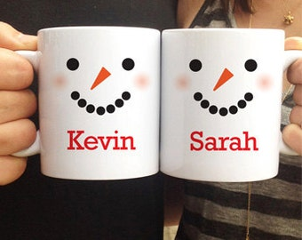 Family Mug Set, Family Christmas Gift, Holiday Gift for Couples, Holiday Family Gift, Personalized Mug Set, Personalized Snowman Mug Set