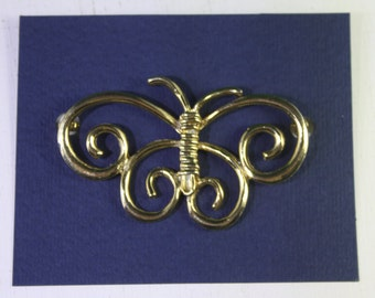 Vintage Mid Century Modern Metal Gold Sketchy Butterfly Brooch